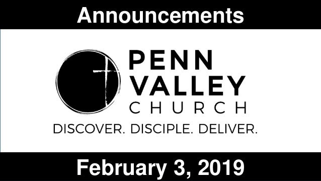 Announcements February 3, 2019