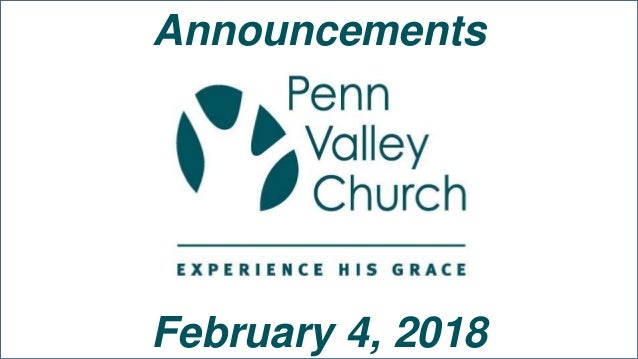 Announcements February 4, 2018