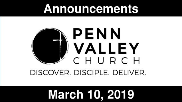Announcements March 10, 2019