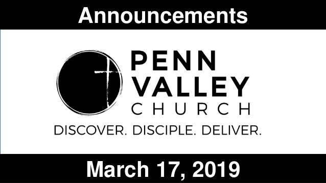 Announcements March 17, 2019