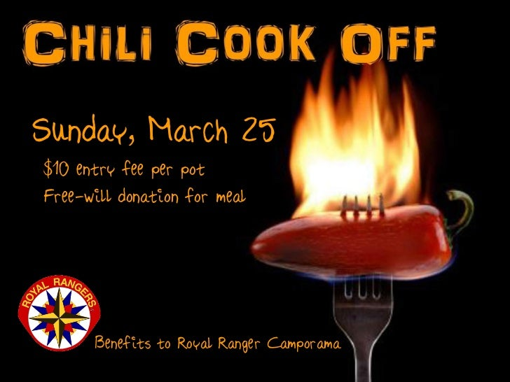 Sunday, March 25$10 entry fee per potFree-will donation for meal      Benefits to Royal Ranger Camporama