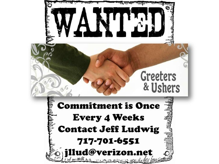 Commitment is Once   Every 4 WeeksContact Jeff Ludwig    717-701-6551 jllud@verizon.net