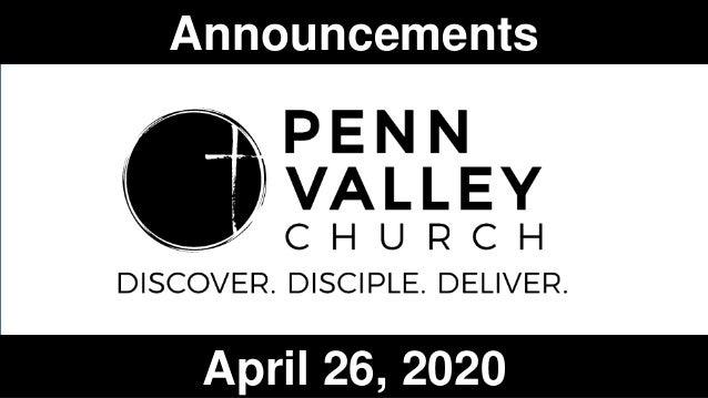 Announcements April 26, 2020