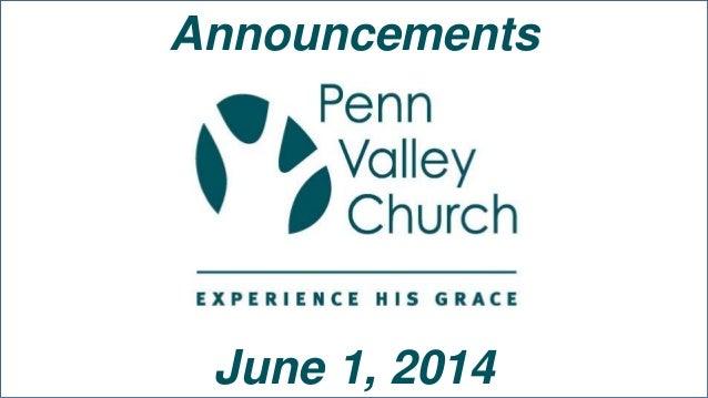 Announcements June 1, 2014