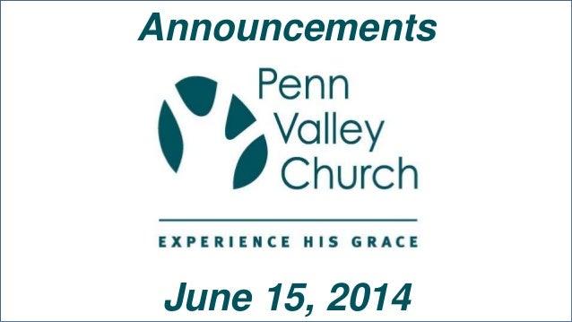 Announcements June 15, 2014