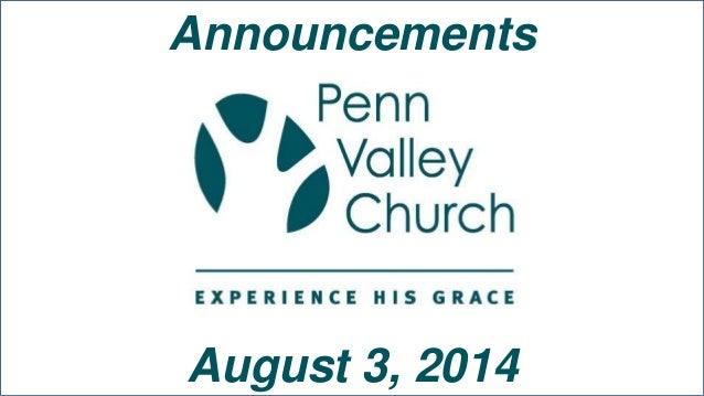 Announcements August 3, 2014