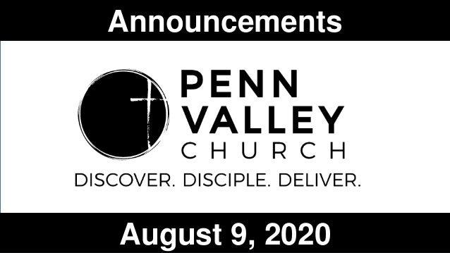 Announcements August 9, 2020