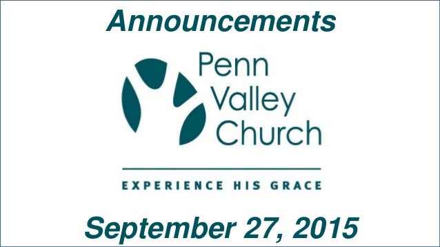 Announcements September 27, 2015