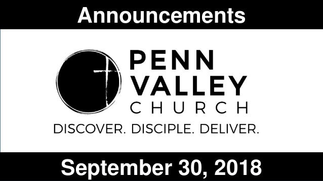 Announcements September 30, 2018