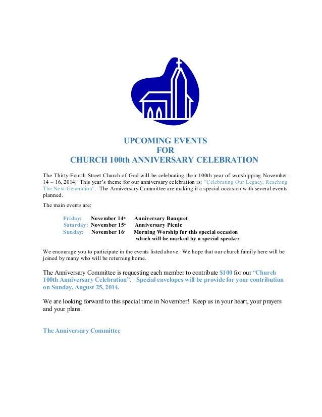 church anniversary announcement Josemulinohouseco