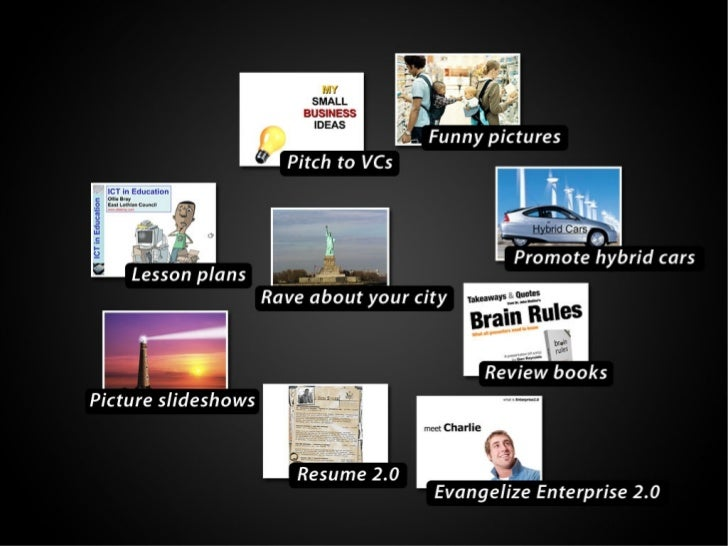 Funny pictures, Pitch to Vcs, Promote Hybrid Cars, Review Books, Evangelize Enterprise 2.0, Resume 2.0, Picture Slideshows...