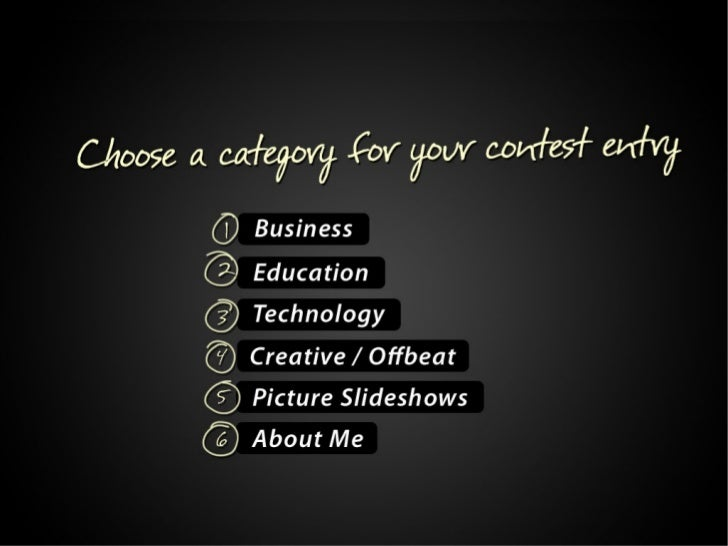 Choose a category for your contest entry: 1. Business 2. Education 3.Technology 4.Creative / Offbeat 5.Picture Slideshows ...