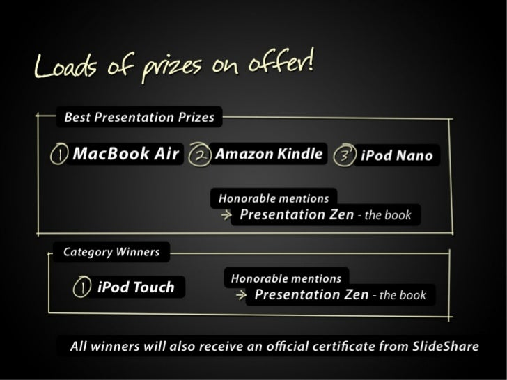 Loads of prizes on offer!  Best Presentation Prizes 1. MacBook Air 2. Amazon Kindle 3. iPod Nano  Category winners 1.iPod ...