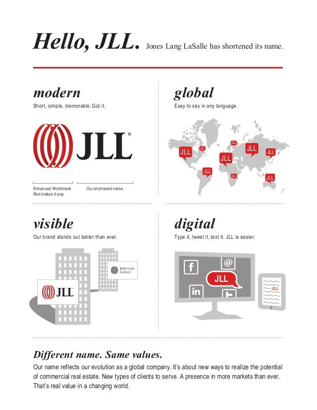 Hello, JLL .  Jones Lang LaSalle has shortened its name.  modern  Short, simple, memorable. Got it.  global  Easy to say i...