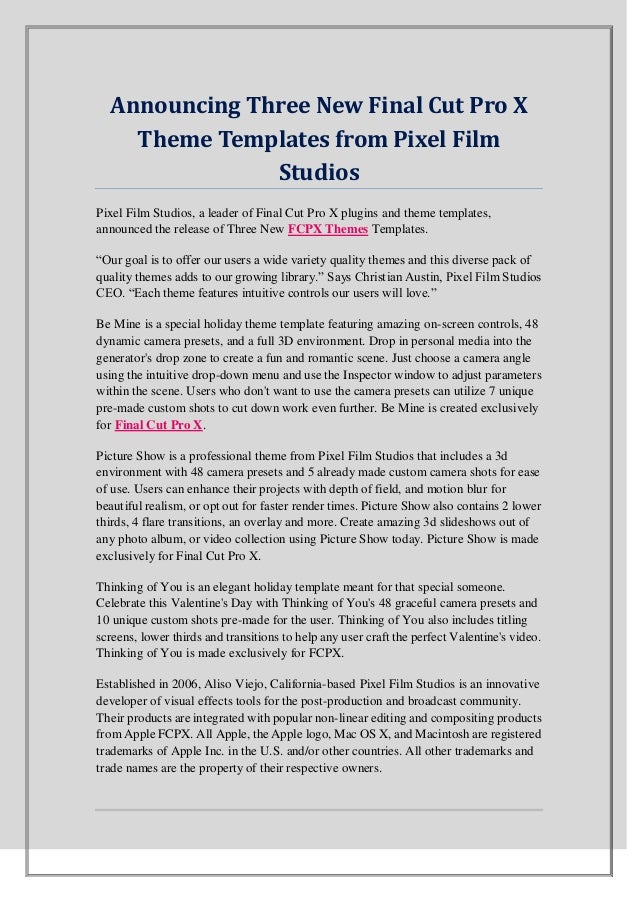 Announcing Three New Final Cut Pro X Theme Templates from