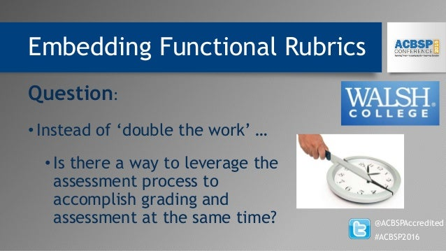 Embedding Functional Rubrics @ACBSPAccredited #ACBSP2016 Question: •Instead of 'double the work' … •Is there a way to leve...