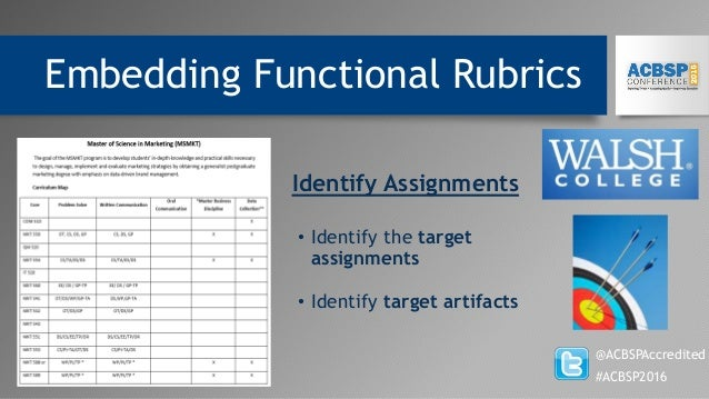 Embedding Functional Rubrics @ACBSPAccredited #ACBSP2016 • Identify the target assignments • Identify target artifacts Ide...