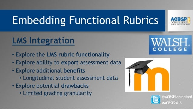 Embedding Functional Rubrics @ACBSPAccredited #ACBSP2016 LMS Integration • Explore the LMS rubric functionality • Explore ...