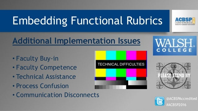 Embedding Functional Rubrics @ACBSPAccredited #ACBSP2016 Additional Implementation Issues • Faculty Buy-in • Faculty Compe...