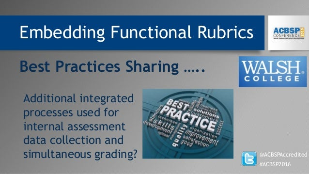 Embedding Functional Rubrics @ACBSPAccredited #ACBSP2016 Best Practices Sharing ….. Additional integrated processes used f...