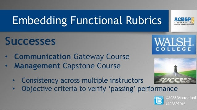 Embedding Functional Rubrics @ACBSPAccredited #ACBSP2016 Successes • Communication Gateway Course • Management Capstone Co...