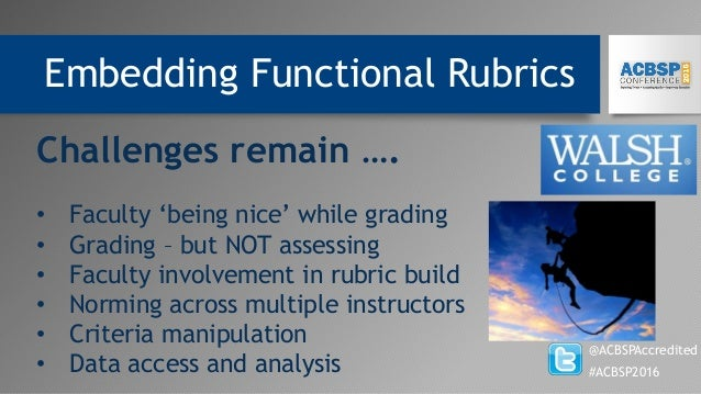 Embedding Functional Rubrics @ACBSPAccredited #ACBSP2016 Challenges remain …. • Faculty 'being nice' while grading • Gradi...