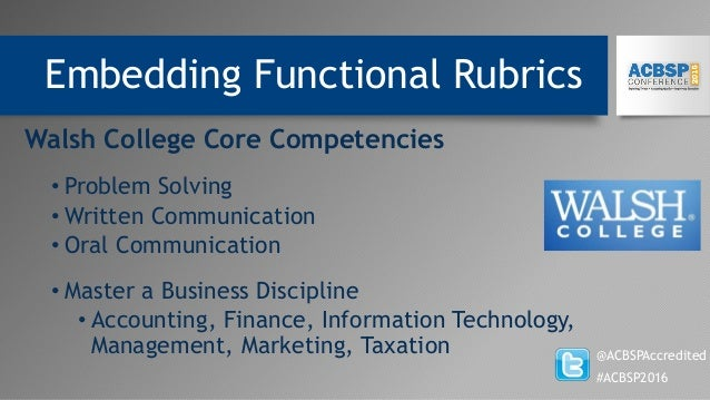 Embedding Functional Rubrics @ACBSPAccredited #ACBSP2016 Walsh College Core Competencies • Problem Solving • Written Commu...