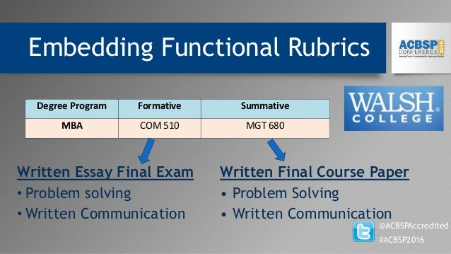 Embedding Functional Rubrics @ACBSPAccredited #ACBSP2016 Written Essay Final Exam Written Final Course Paper • Problem sol...