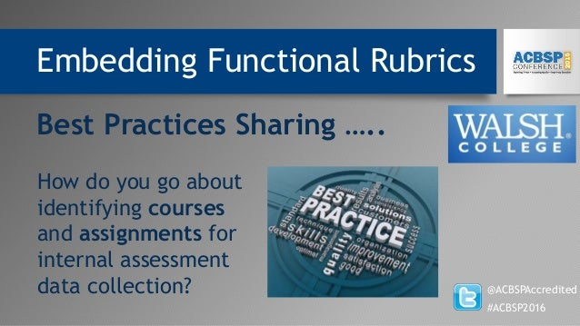 Embedding Functional Rubrics @ACBSPAccredited #ACBSP2016 Best Practices Sharing ….. How do you go about identifying course...