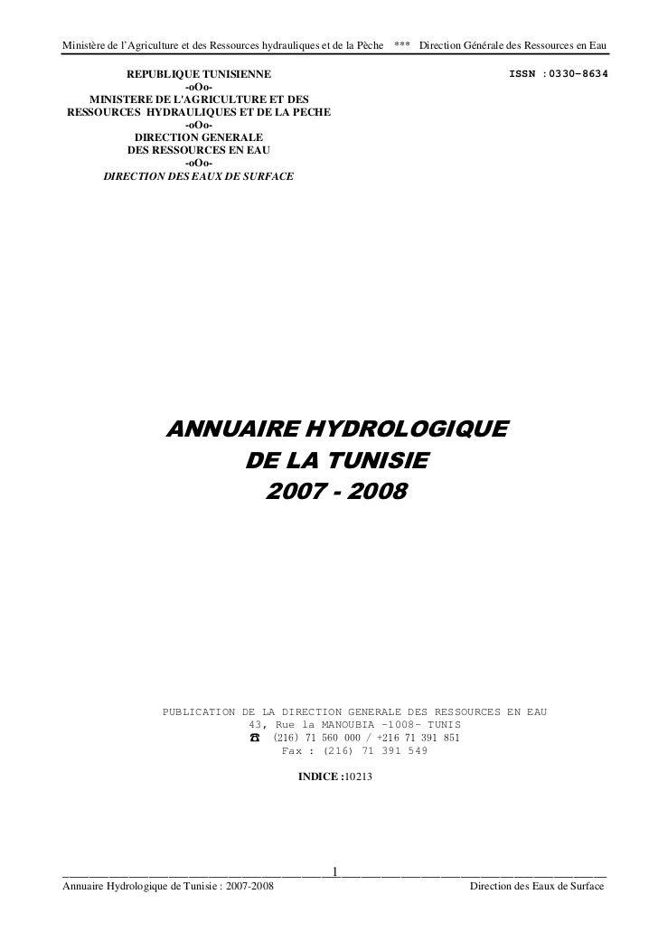Ministère de l'Agriculture et des Ressources hydrauliques et de la Pèche   *** Direction Générale des Ressources en Eau   ...