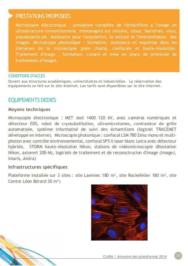 CLARA / Annuaire des plateformes 2014 13 EQUIPEMENTS DEDIES Moyens techniques Microscopie électronique : MET Jeol 1400 120...