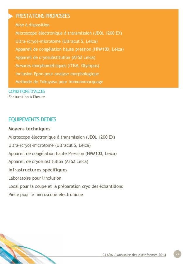 CLARA / Annuaire des plateformes 2014 25 EQUIPEMENTS DEDIES Moyens techniques Microscope électronique à transmission (JEOL...