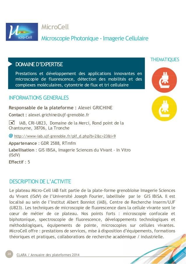 CLARA / Annuaire des plateformes 201428 MicroCell Microscopie Photonique - Imagerie Cellulaire DOMAINE D'EXPERTISE Prestat...