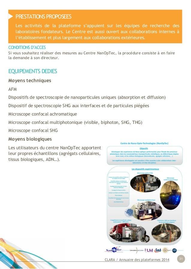 CLARA / Annuaire des plateformes 2014 31 EQUIPEMENTS DEDIES Moyens techniques AFM Dispositifs de spectroscopie de nanopart...