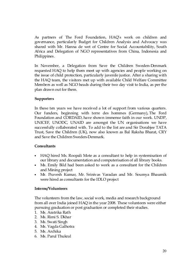 annual report of haq centre for child rights 2009 2010 - Sample Resume Ngo Annual Report Template