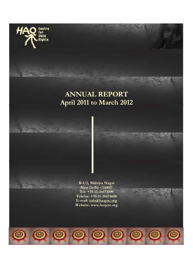 ANNUAL REPORT April 2011 to March 2012 B-1/2, Malviya Nagar New ...