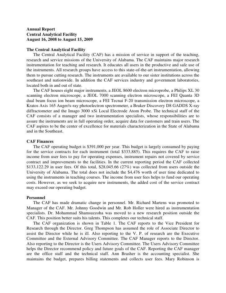 Annual Report<br />Central Analytical Facility<br />August 16, 2008 to August 15, 2009<br />The Central Analytical Facilit...
