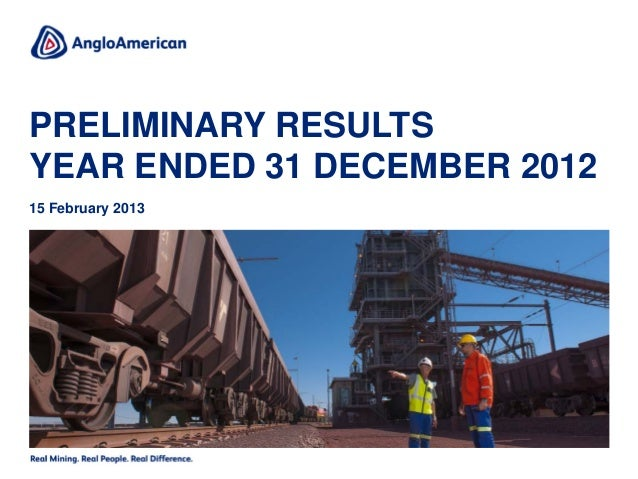 PRELIMINARY RESULTSYEAR ENDED 31 DECEMBER 201215 February 2013
