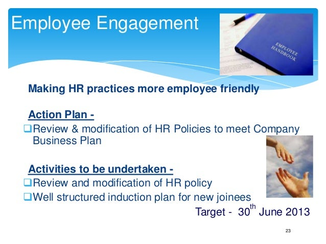 Annual business plan hr template play this in slide show mode target 30th sept 2013 22 23 employee engagement making hr accmission Gallery