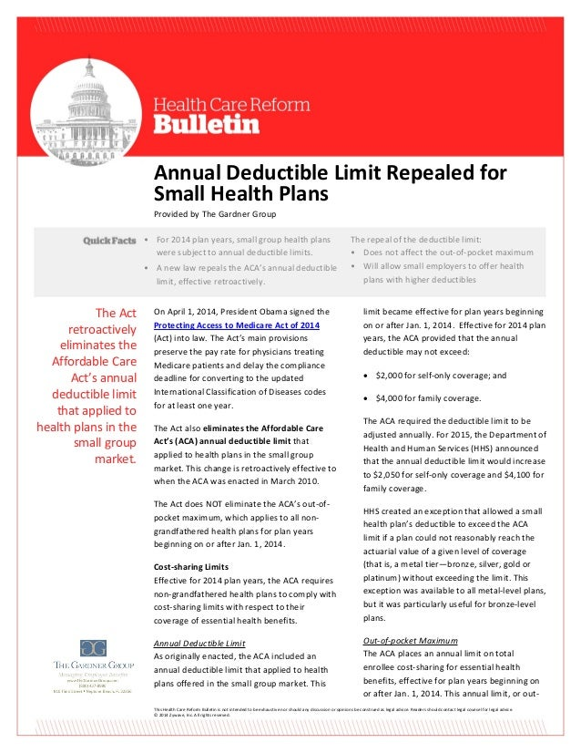This Health Care Reform Bulletin is not intended to be exhaustive nor should any discussion or opinions be construed as le...