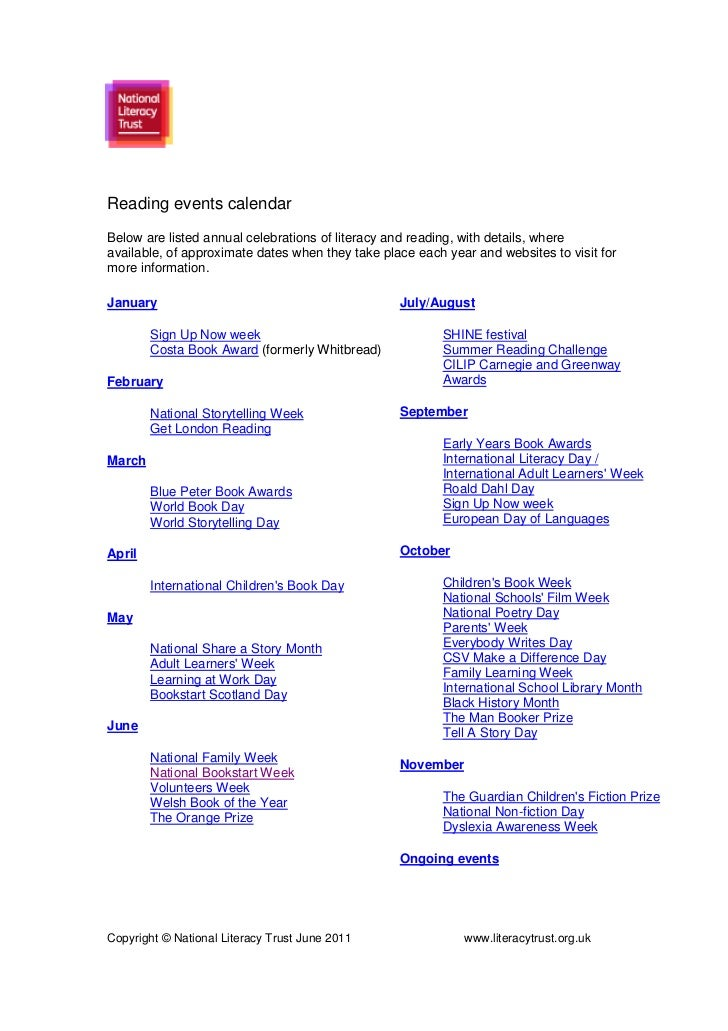 Reading events calendarBelow are listed annual celebrations of literacy and reading, with details, whereavailable, of appr...