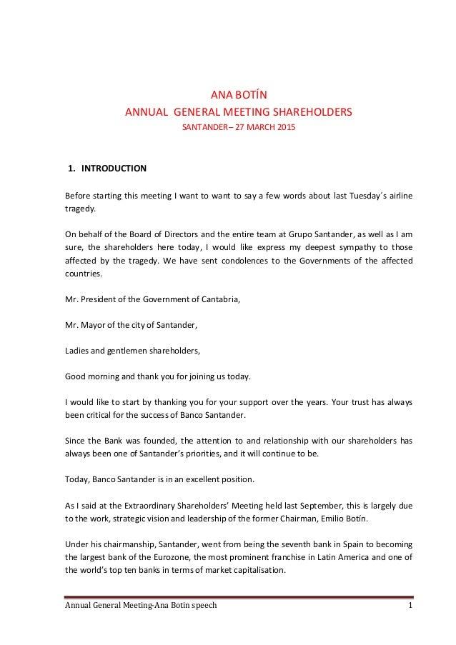 Annual General Meeting-Ana Botin speech 1 ANA BOTÍN ANNUAL GENERAL MEETING SHAREHOLDERS SANTANDER– 27 MARCH 2015 1. INTROD...