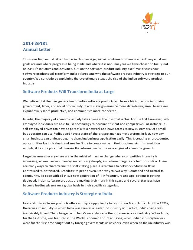 2014  iSPIRT   Annual  Letter      This  is  our  first  annual  letter.  Just  as...
