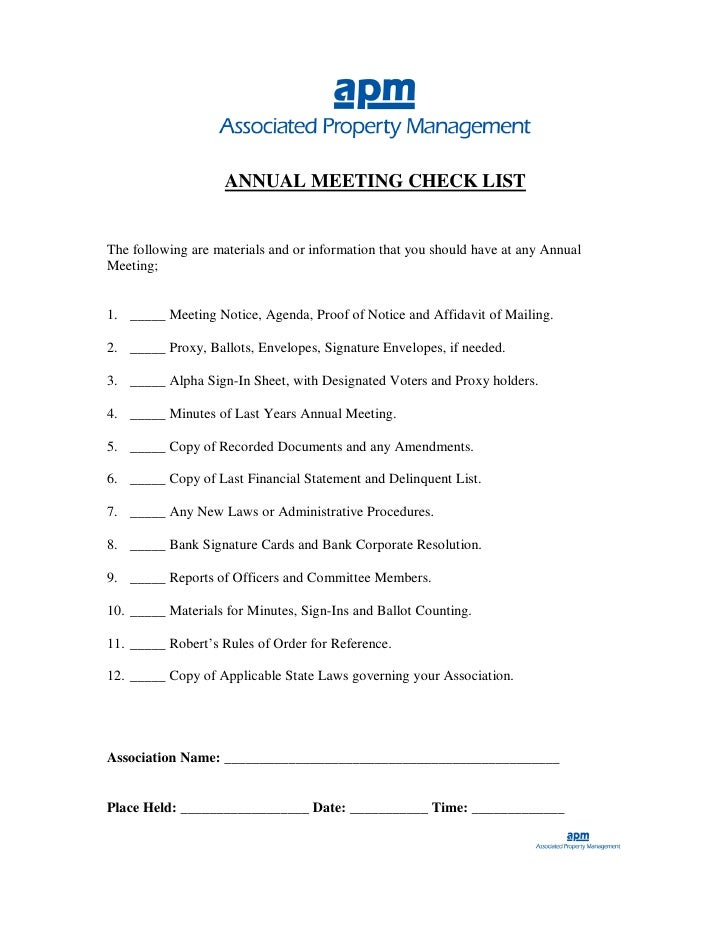 ANNUAL MEETING CHECK LIST   The following are materials and or information that you should have at any Annual Meeting;   1...