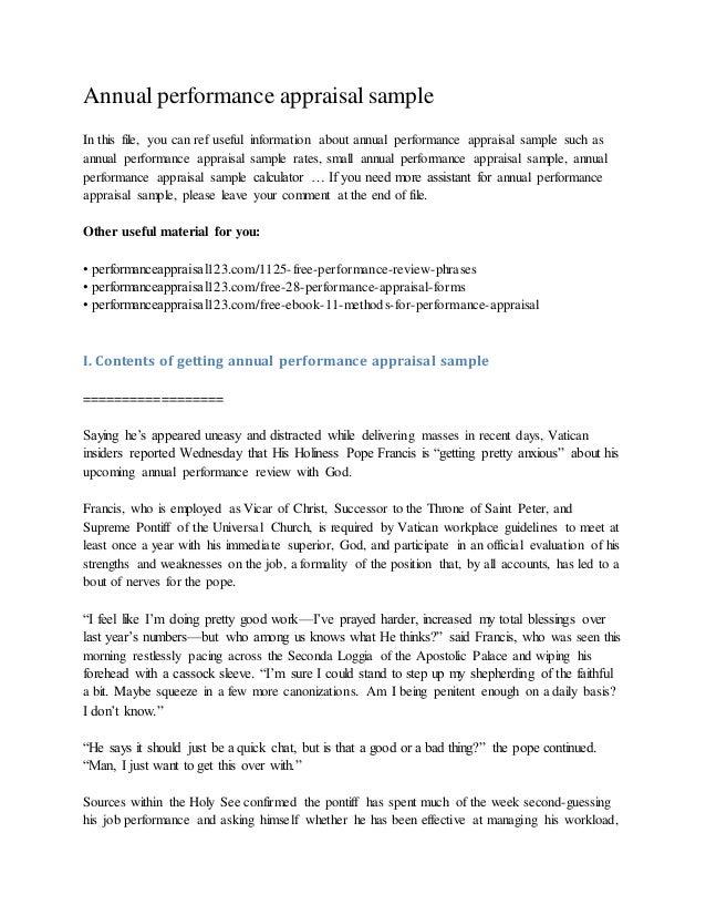 Employee performance evaluation sample template work performance.