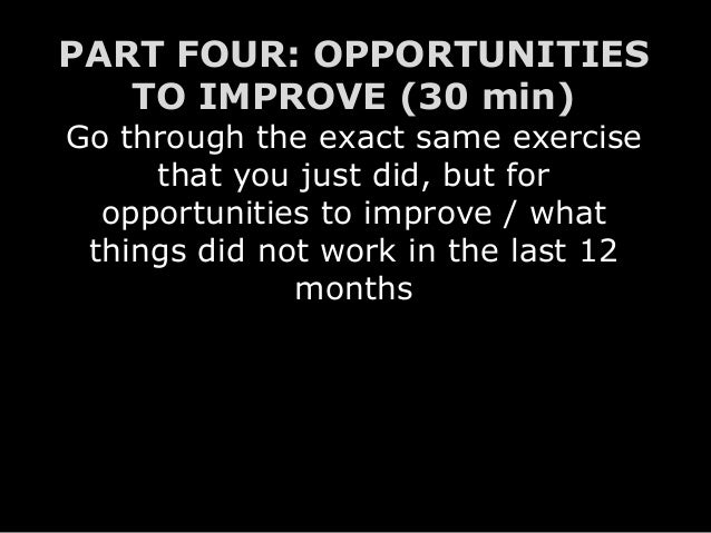 PART FOUR: OPPORTUNITIES TO IMPROVE (30 min) Go through the exact same exercise that you just did, but for opportunities t...