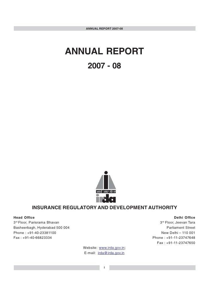 Annual Rep IRDA 2007 08
