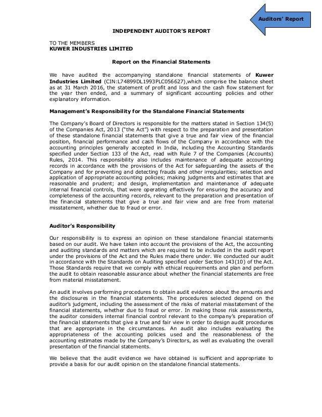 Annual report fy 2015 16 of kuwer industries ltd auditors report independent altavistaventures Image collections