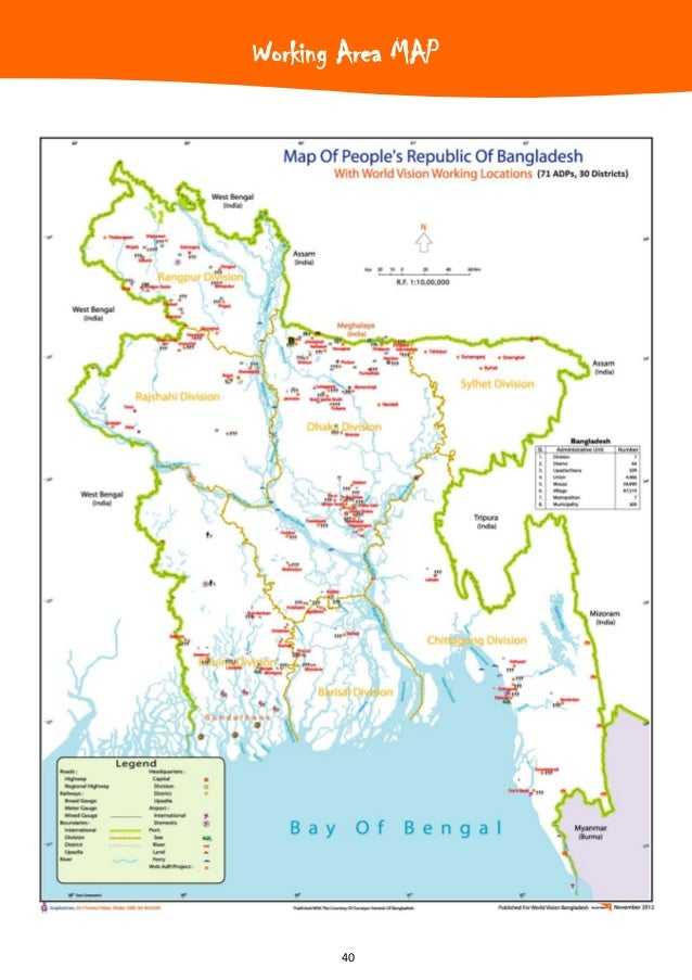 Annual report 2012 of world vision bangladesh 40 working area map gumiabroncs Image collections