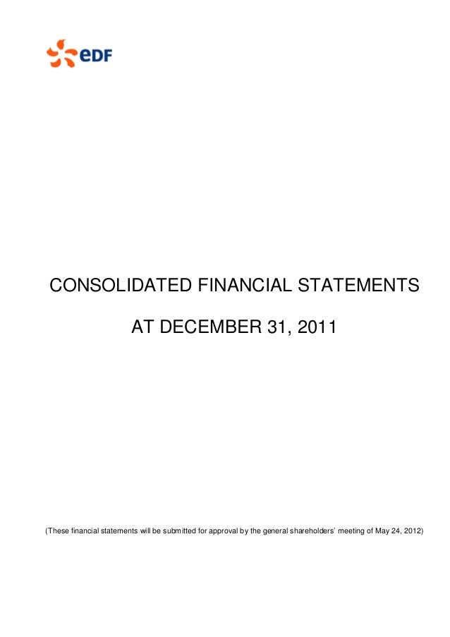 CONSOLIDATED FINANCIAL STATEMENTS                         AT DECEMBER 31, 2011(These financial statements will be submitte...